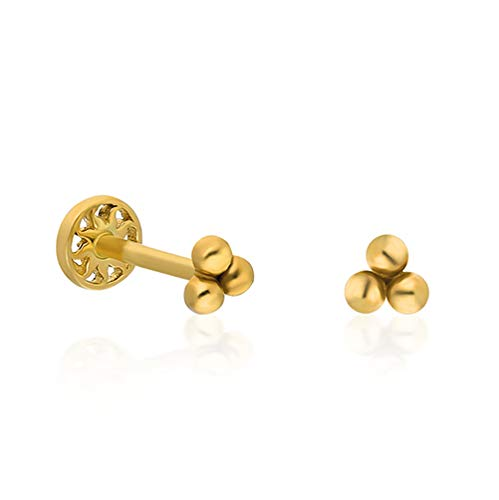 14K Massiv Gold Drei Bälle Piercing Minimalistisches Tragus Piercing Gold Stud Piercing Stud Ohrpiercing Ohrstecker Dreifache Runde Piercing (6, 14 Karat (585) Gelbgold)