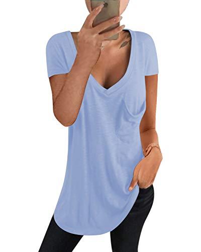 kenoce Camiseta Mujer de Manga Larga Blusa Cuello en V Casual Manga Corta Tshirt Sexy Color Sólido Elasticidad Pullover Blusas F-Azul Claro L