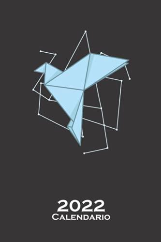 Pájaro volador de origami como papel Calendario 2022: Calendario anual para Abanicos japoneses de papel plegado