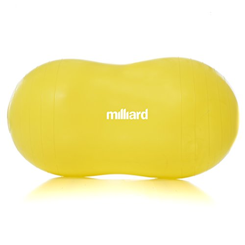 Milliard Peanut Ball Yellow Approximately 35x17 inch (90x45cm) Physio Roll for Exercise, Therapy, Labor Birthing and Dog Training