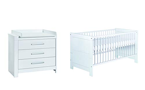 Schardt 10 795 02 00 Sparset Nordic White bestehend aus Kinderbett, Umbauseiten und Wickelkommode, weiß