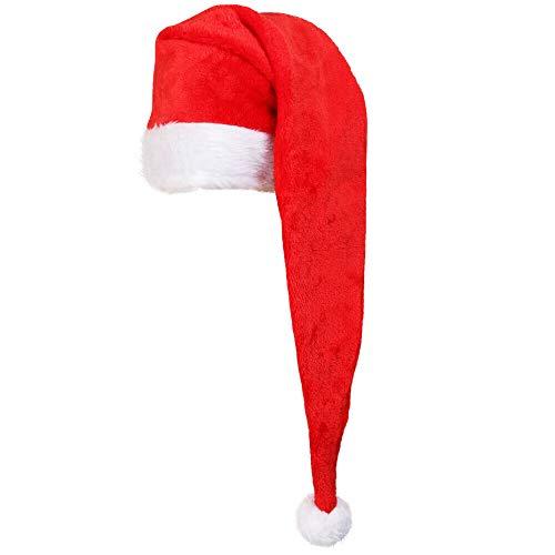 SANTA HAT CHRISTMAS FANCY DRESS HAT - LONG PLUSH SANTA CLAUS FATHER CHRISTMAS HAT - LADIES MENS RED XMAS HAT WITH WHITE TRIM & WHITE BOBBLE BULK (PACK OF 1)