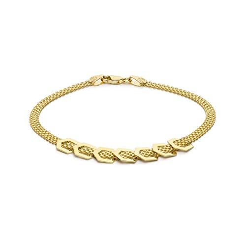 Carissima Gold Pulsera Bismark 7 Hexágonos de la Suerte de 7.5mm Oro Amarillo 9 Quilates para Mujer de 19cm/7.5'