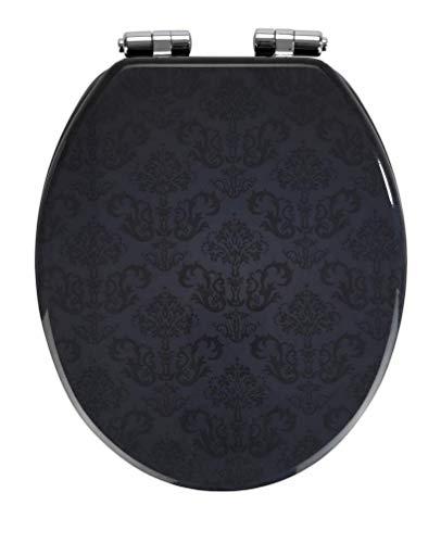 WENKO WC-Sitz Bellevue - Toiletten-Sitz mit Absenkautomatik, rostfreie Fix-Clip Hygiene Zinkdruckgussbefestigung, MDF, 35.5 x 42.5 cm, Anthrazit