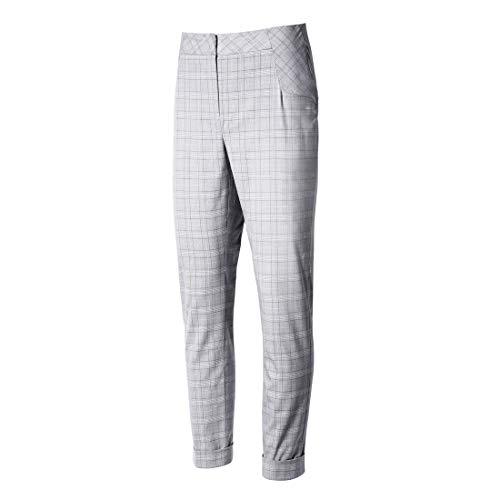 Sidiou Group Damen Karohose Karierte Hose mit hoher Taille Büro Lady Style Hosen Lässige Hose mit geradem Bein und Taschen (Grau, XS)
