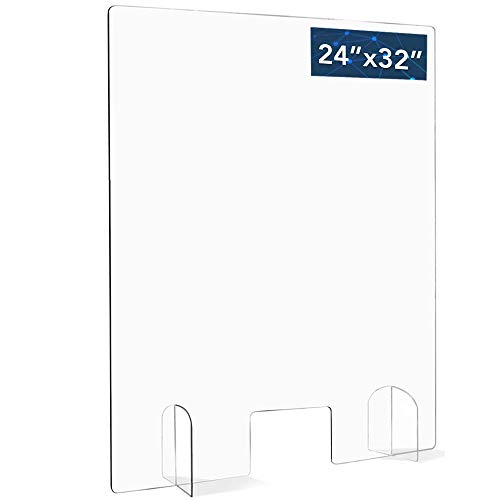 """Pegasun Sneeze Guard for Counter - Premium Plexiglass Shield with Opening: Table Divider for Desk, Office, Classroom & Business Use - Crystal Clear Protection - Strong 1/5"""" Thickness, 24"""" x 32"""" Frame"""