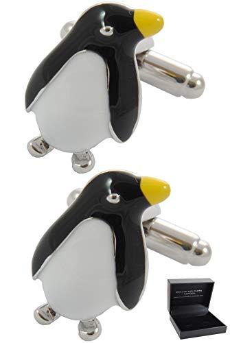 COLLAR AND CUFFS LONDON - HOCHWERTIGE Manschettenknöpfe mit Geschenk Box - Pinguin - Stilvolle Messing - Schwarz Weiß Farben - Tier Vogel Antarktis Winter