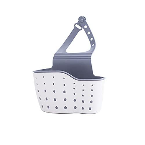 2 unids fregadero Organizador Rack Ajustable Fregadero Bolsa de almacenamiento Soporte de la bolsa de almacenamiento engrosada Cesta de drenaje con agujeros Accesorios de cocina (Color : White)