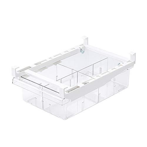 Organizador de frigorífico con cajones transparentes, para frigorífico/congelador con cajones extensibles, caja de almacenamiento para nevera (4 celdas)