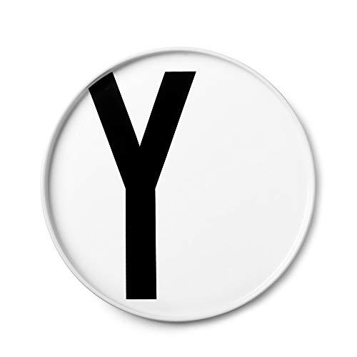 Design Letters Assiette Personnalisée en Blanc Porcelaine Fine de A-Z - Y – Assiette Decorative, Idéal décorer, comme Cadeau Personnel, ou pour Les Repas, Compatible Lave-Vaisselle, D: 20cm