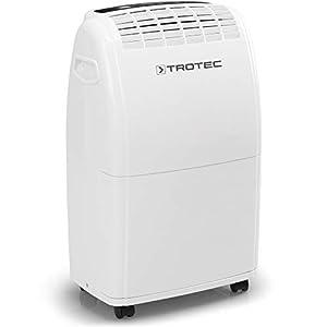 TROTEC Deshumidificador eléctrico TTK 75 E, 20L/24hL, Depósito 3L, Portátil, Para Habitaciones de hasta 45m²/110m³, Filtro de Aire, Silencioso, 320 W, Auto-Apagado, Higrostato Automático, Blanco