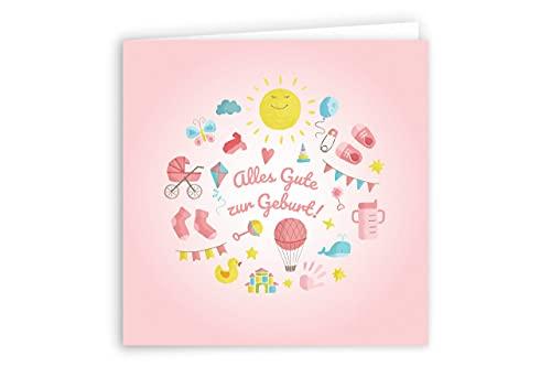 Friendly Fox Karte zur Geburt - Glückwunsch zum Baby - Karte zur Baby Geburt - Karte mit Umschlag - Grußkarte Glückwunschkarte Klappkarte zur Geburt Baby Mädchen