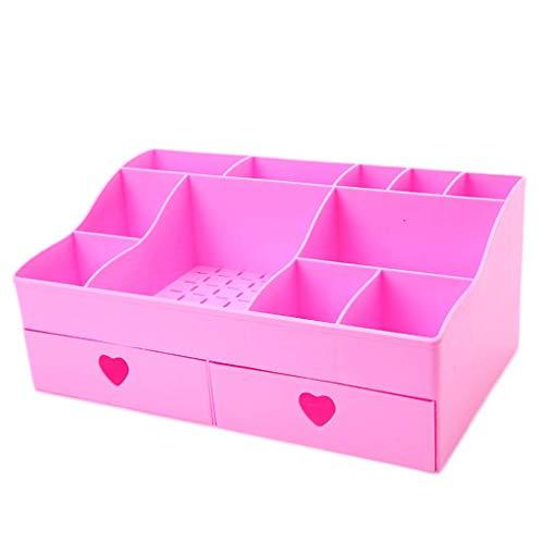 BOX Cosmétiques Boîte de Rangement En Plastique de Type Tiroir de Bureau Lipstick Bijoux Soins de La Peau Produits Stockage Affichage Boîte 30,8 × 18,5 × 13 Cm,Rose