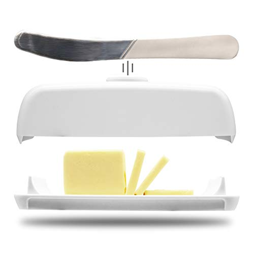 Butter Hub Butter Dish with Lid and Knife, Magnetic Butter Keeper, Easy Scoop, No Mess Lid, Plastic, Dishwasher Safe (White)
