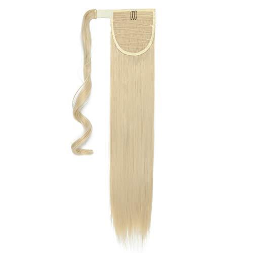 S-noilite® Wrap Around Ponytail Extensiones de Clip de Pelo Natural Una Pieza Pasta Mágica Cola de Caballo Pedazo de Cabello para Mujeres 66cm Recto Blonde de lejía