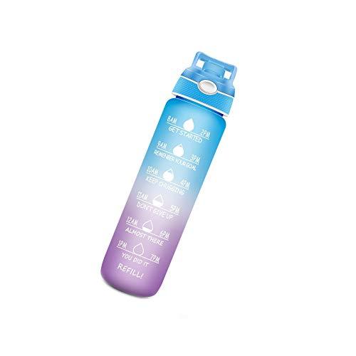 Litulituhallo - Borraccia sportiva con nebulizzatore spray per idratazione all'aperto, 1 l, con indicatore del tempo, con cannuccia