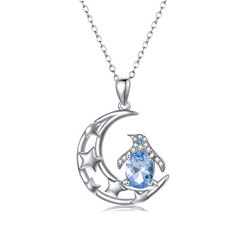 Pinguin Geschenke, 925 Sterling Silber Pinguin Halskette,Mond und Stern Pinguin ketten,Tier-Anhänger Schmuck für Frauen,Tochter