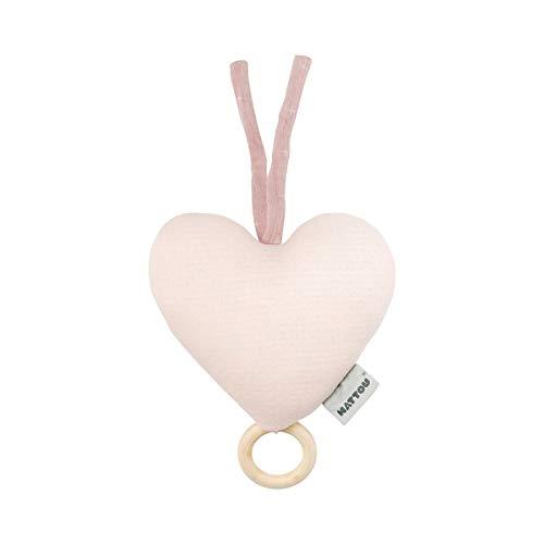 Nattou PURE Jouet Musical Coeur 100% coton, Dès la Naissance, Mélodie « La-Le-Lu », 20 x 18 x 6,5 cm, Rose, 998222