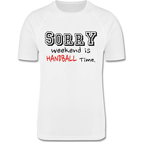 Sport Kind - Sorry Weekend is Handball Time - 104 (3/4 Jahre) - Weiß - Funktionsshirt Jungen Handball - F350K - atmungsaktives Laufshirt/Funktionsshirt für Mädchen und Jungen