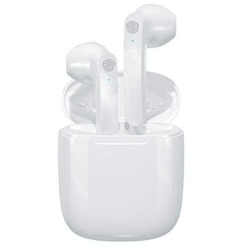 WinCret Kopfhörer Kabellos, Bluetooth 5.0 Kopfhörer 40H Cyclic Playtime Kopfhörer mit Ladebox, In Ear Kopfhörer HiFi Stereo, Touch Control Kopfhörer mit Mikrofon für Sport/Arbeit,Weiß