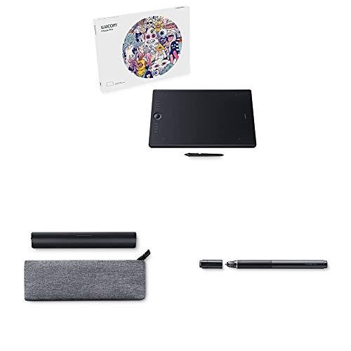 Wacom Intuos Pro Stifttablett Größe L, Grafiktablett (inkl. Wacom Pro Pen 2 Eingabestift mit verschiedenen Spitzen, geeignet für Windows & Apple) + Paper Clip + Finetip Pen