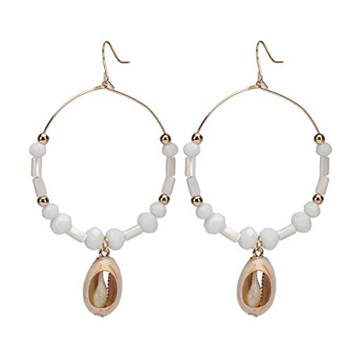 SMEJS Pendientes de aro de oro con círculo sin fin - Joyas para mujeres y niñas Pendientes colgantes de concha marina