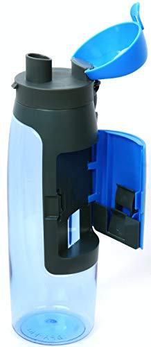 Sport Trinkflasche aus hochwertigem Material (Auslaufsicher und BPA-Frei) mit Fach. Für Outdoor und Indoor. Fitness, Fahrrad, Wandern. 0,75 Ltr