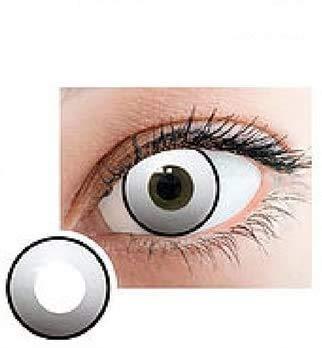 Queen,s Fun&Look Farbige Kontaktlinsen für Karneval, Halloween, Silvester, Cosplay, extravagante Designs, um Ihre Augen zu verdecken Solid White