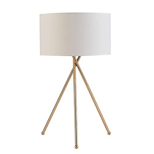 FHKBK Lámpara de Mesa de Noche, lámpara de Mesa LED de diseños Simples hasta el Alambre Lámpara de Escritorio con Pantalla de Tela, Dorado/Blanco Lámpara de Noche de Creatividad Modern