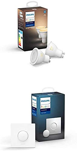 Philips Hue Pack de 2 Ampoules LED Connectées White Ambiance GU10 Compatible Bluetooth, Fonctionne avec Alexa + Smart Button bouton télécommande intelligent connecté
