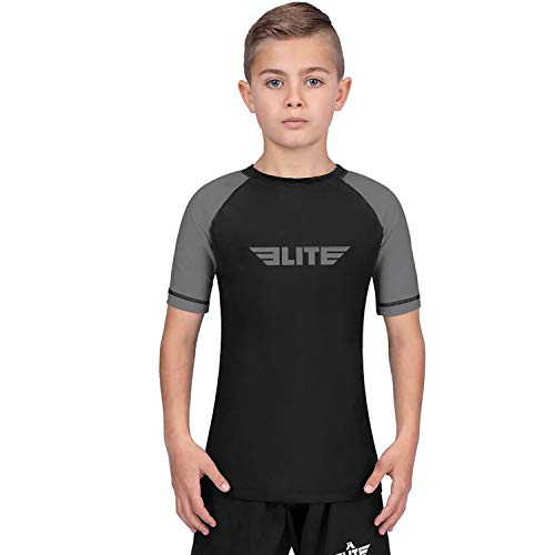 Elite Sports Rash Guards for Boys and Girls, Short Sleeve Compression BJJ Kids and Youth Rash Guard