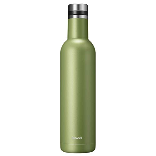 Brewsly Bottiglia Termica, Termos Caffe in Acciaio Inossidabile Isolamento Sottovuoto a Doppia Parete, Processo di Verniciatura a Polvere, 500ML, Nero