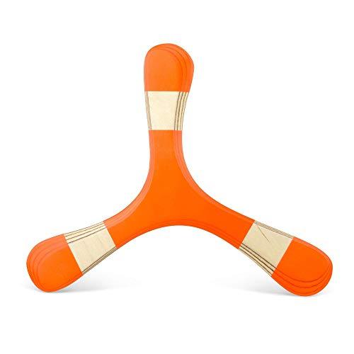 Bumerang für Anfänger und Kinder aus Holz, TROLL 2 neonrot, Rechtshänder-Modell