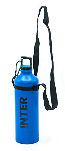 Botella del FC Inter de aluminio, con mosquetón y tapón de rosca, producto oficial, altura 26 cm, capacidad 800 ml, texto negro, para niño, hombre o mujer, con práctica correa para llevar la botella.