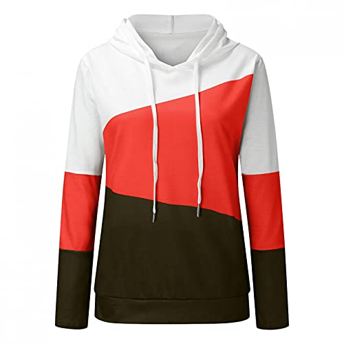 Nulairt Women Hooded Sweatshirts Fashion Color Block Drawstring Long Sleeve Pullover Tops Casual Hoodies with Pockets Green