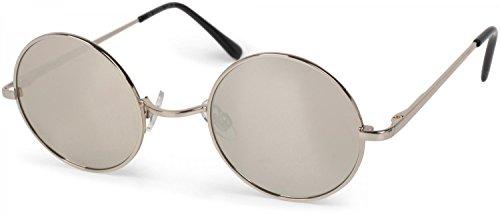 styleBREAKER runde Sonnenbrille mit schmalem Metall Gestell, Retro Design, Bügel mit Federscharnier, Unisex 09020065, Farbe:Gestell Silber/Glas Silber verspiegelt