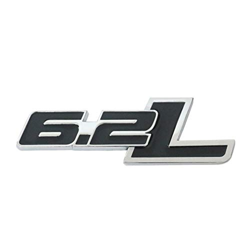 Unbekannt 6.2L Liter in Black Highly Polished Aluminum Silver Chrome Car Truck Engine Swap Badge Nameplate Emblem for Chevy Camaro SS Corvette Cadillac L99 LS3 LSA C6 Pontiac G8 GXP V8 Vauxhall VXR8