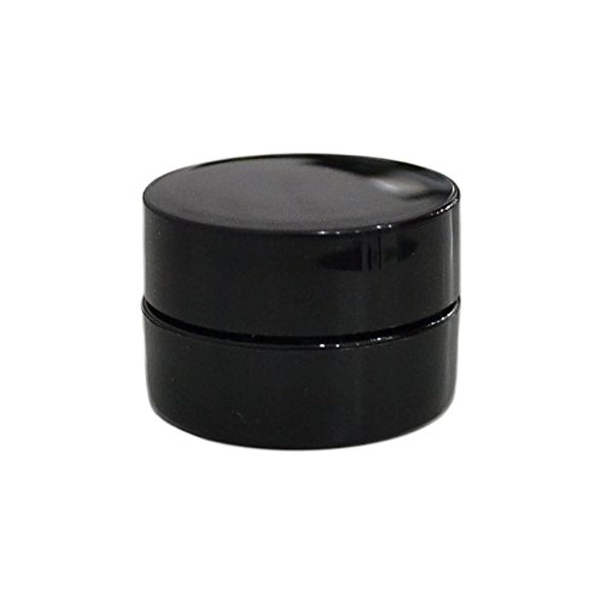 バイバイメディアシャー純国産ネイルジェルコンテナ 3g用 GA3g 漏れ防止パッキン&ブラシプレート付容器 ジェルを無駄なく使える底面傾斜あり 遮光 黒 ブラック
