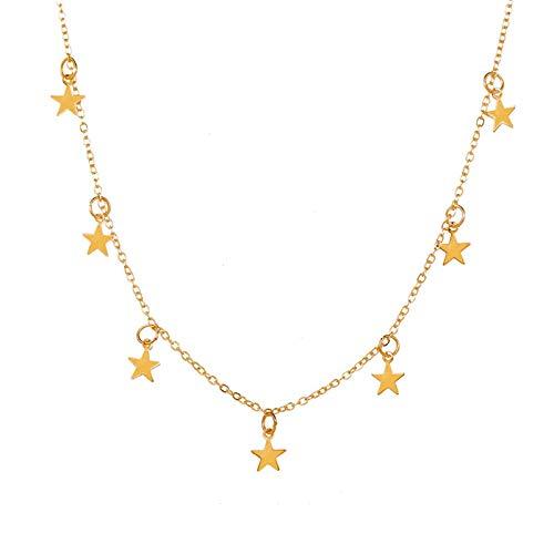 LILY123 Mode Or étoile Pendentif Collier pour Femmes Doux Argent Couleur étoile Gland Tour de Cou Colliers Minimaliste 2021 Tendance Bijoux