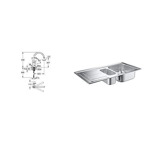 Grohe Bauflow - Grifo de cocina, monomando de fregadero con acabado cromado (31538001) + Grohe 31564SD0 Fregadero de cocina, K300, 60 cm