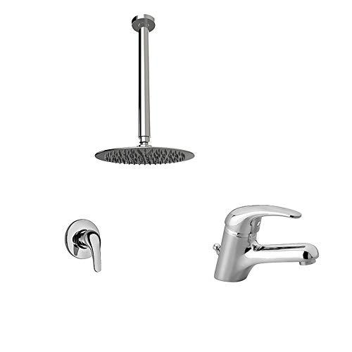 Cabezal de ducha Easy Inox 200 mm, brazo de techo 300 mm, monomando ducha y lavabo Jade