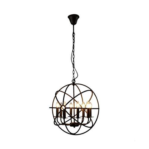FHUA Lampadario Moderno Creative Spherical Chandelier Iron Craft Industries Retro Americano País Loft Luz Cálida LED Lámpara Diámetro 52cm Inicio Bar Restaurante Decoración