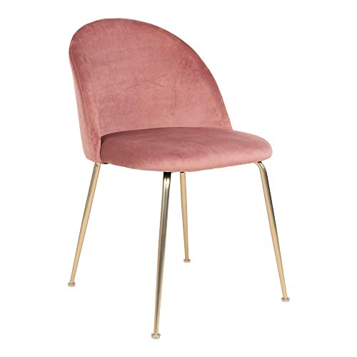 HOUSE NORDIC - Silla de comedor Geneve de terciopelo rosa con patas de latón