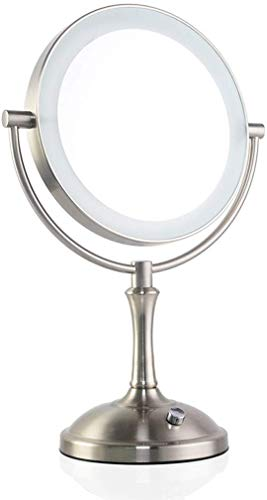 JKCKHA Europea del Metal del Espejo del LED de Escritorio de Doble Cara Espejo de Alta definición de Belleza Vanidad Espejo de Aumento de 360 ° de Giro Libre Espejo