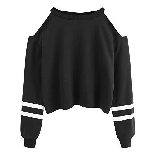 YEBIRAL Pullover Damen Bauchfrei, Teenager Mädchen Gestreifte Pulli Langarmshirt Schulterfrei Kurz Crop Tops Oberteile Shirt Sweatshirt(XL,Schwarz)