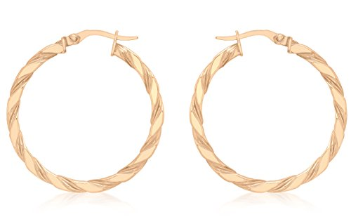 Carissima Gold Women's 9 ct Rose Gold 30 mm Twist Creole Earrings