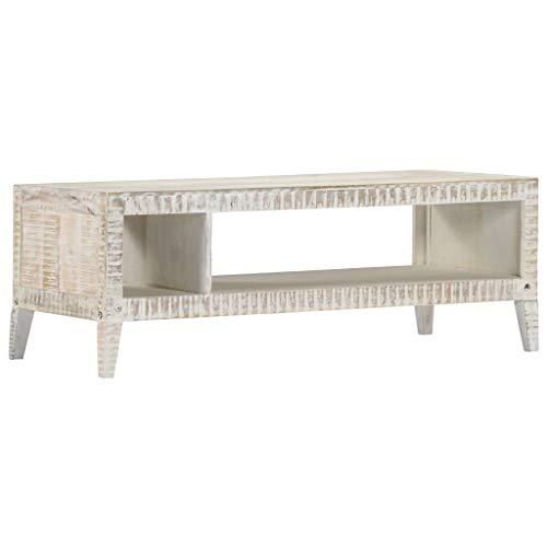 vidaXL Bois de Manguier Massif Table Basse Meuble TV Table d'Appoint Table de Salon Bout de Canapé Maison Meuble Multimédia Support pour TV
