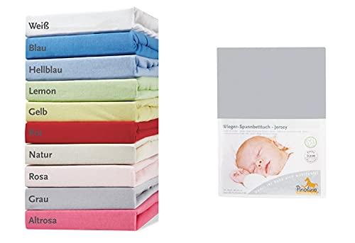 Pinolino 540004-8 - Spannbetttuch für Wiegen, Jersey, grau