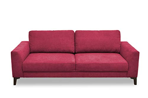 DOMO Collection Timeless Boxspringsofa, 2,5er Sofa mit Boxspringfederung, zeitlose Couch, 2,5 Sitzer in rot, 222 x 94 x 89 cm