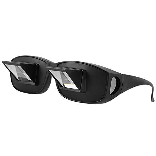 Atuful Lazy Reader Glasses,Prisma Brille,Horizontale Prisma Faul Gläser Zum Lesen und Fernsehen im Bett Liegend Flach Geeignet-Schwarz